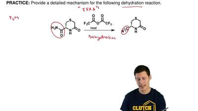 Provide a detailed mechanism for the following dehydration reaction. ...