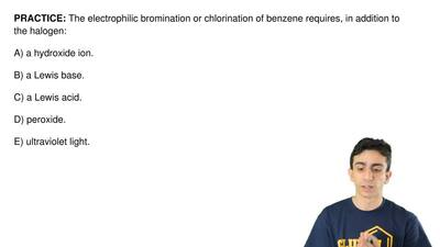 The electrophilic bromination or chlorination of benzene requires, in addition...