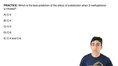 Which is the best prediction of the site(s) of substitution when 3-methylpheno...