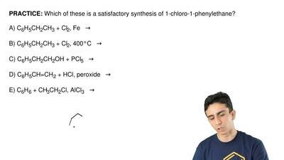 Which of these is a satisfactory synthesis of 1-chloro-1-phenylethane?  A) C6H...