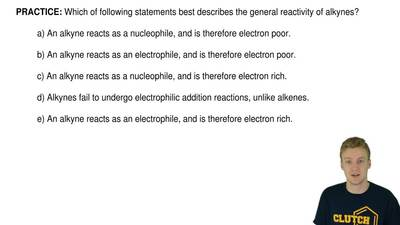 Which of following statements best describes the general reactivity of alkynes...