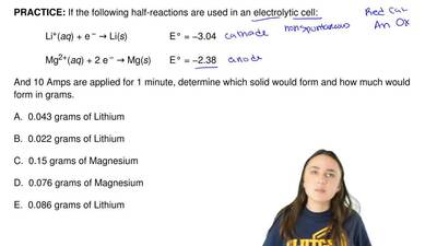If the following half-reactions are used in an electrolytic cell:             ...