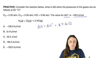 Consider the reaction below, what is ΔG when the pressures of the gases are as...