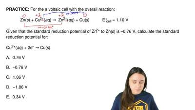 For the a voltaic cell with the overall reaction:              Zn(s) + Cu2+(aq...