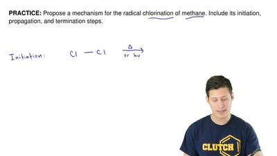 Propose a mechanism for the radical chlorination of methane. Include its initi...
