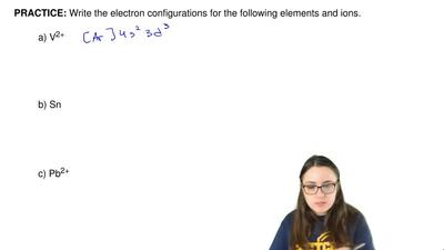 Write the electron configurations for the following elements and ions.  a) V2+...