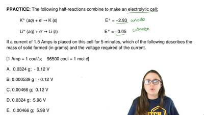 The following half-reactions combine to make an electrolytic cell:  K+ (aq) + ...