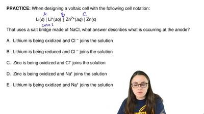 When designing a voltaic cell with the following cell notation:               ...