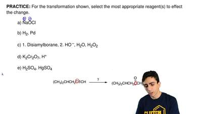 For the transformation shown, select the most appropriate reagent(s) to effect...