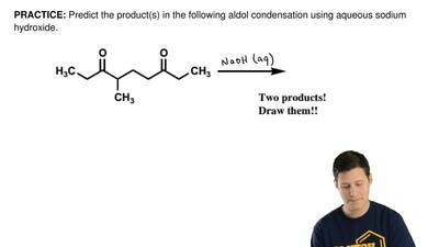 Predict the product(s) in the following aldol condensation using aqueous sodiu...