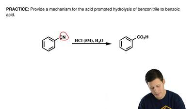 Provide a mechanism for the acid promoted hydrolysis of benzonitrile to benzoi...