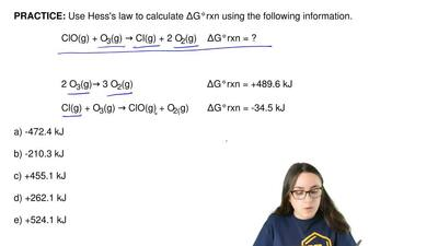 Use Hess's law to calculate ΔG°rxn using the following information.  ClO(g) + ...