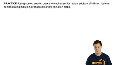 Using curved arrows, draw the mechanism for radical addition of HBr to 1-buten...