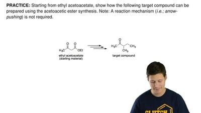 Starting from ethyl acetoacetate, show how the following target compound can b...