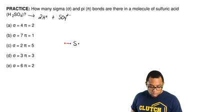 How many sigma (σ) and pi (π) bonds are there in a molecule of sulfuric acid (...