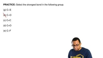 Select the strongest bond in the following group.   (a) C−S  (b) C−O  (c) C=C ...