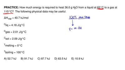 How much energy is required to heat 36.0 g H2O from a liquid at 65°C to a gas...