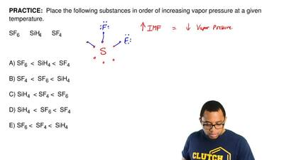 Place the following substances in order of increasing vapor pressure at a giv...