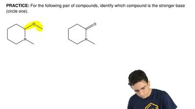 For the following pair of compounds, identify which compound is the stronger b...