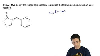 Identify the reagent(s) necessary to produce the following compound via an ald...