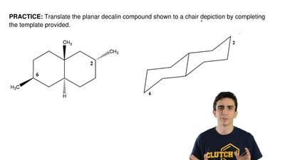 Translate the planar decalin compound shown to a chair depiction by completing...