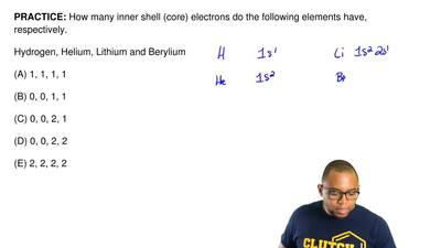 How many inner shell (core) electrons do the following elements have, respecti...