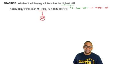 Which of the following solutions has the highest pH?  A) 0.40 M CH3COOH  B) 0....