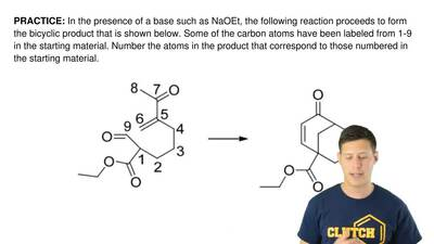 In the presence of a base such as NaOEt, the following reaction proceeds to fo...