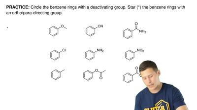 Circle the benzene rings with a deactivating group. Star (*) the benzene rings...