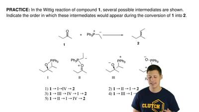 In the Wittig reaction of compound  1, several possible intermediates are show...