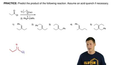 Predict the product of the following reaction. Assume an acid quench if necess...