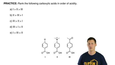 Rank the following carboxylic acids in order of acidity.  a) I > II > II...